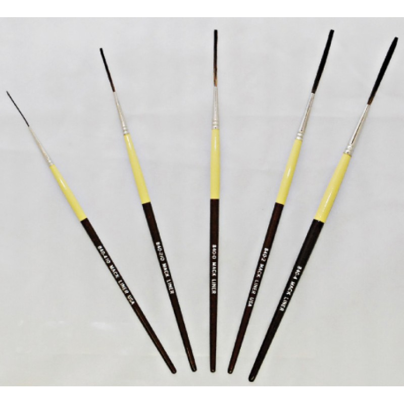 Mack 840 Synthetic Squirrel Hair Outliner Pinstriping Brush Size #4//0-4 OR Set