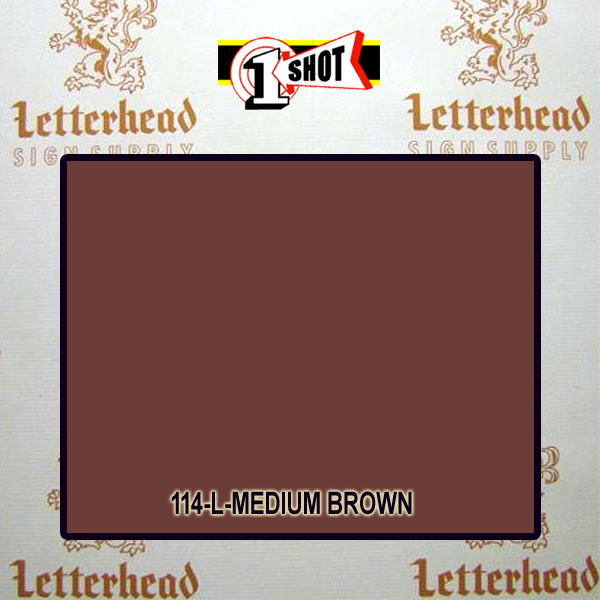 1 Shot Lettering Enamel Paint Medium Brown 114L - 1/2 Pint