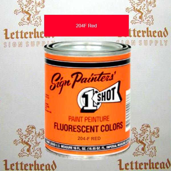 1 Shot Lettering Enamel Paint Red 204F - Quart