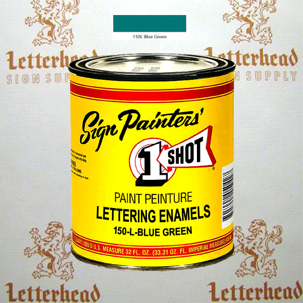 1 Shot Lettering Enamel Paint Blue Green 150L - Quart