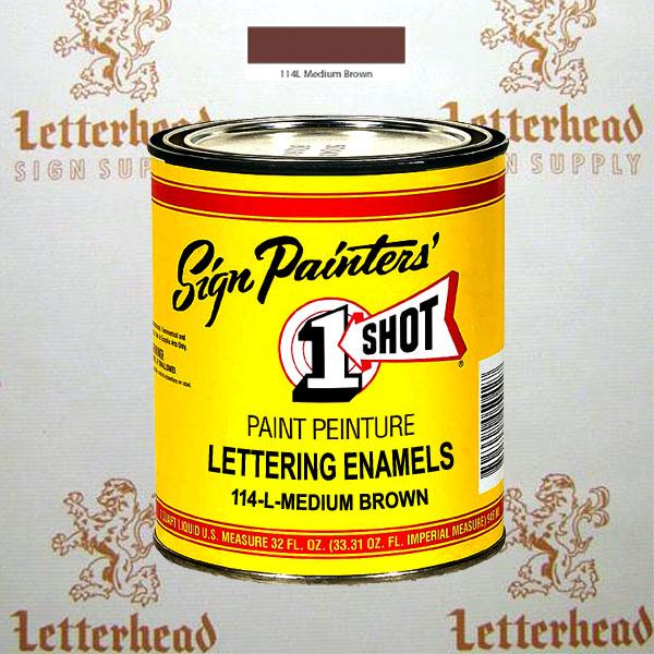 1 Shot Lettering Enamel Paint Medium Brown 114L - Quart