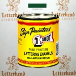 1 Shot Lettering Enamel Paint Medium Green 144L - Quart