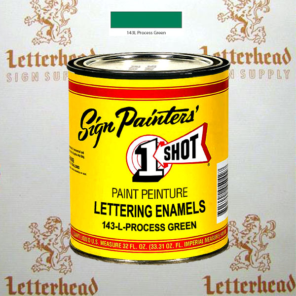 1 Shot Lettering Enamel Paint Process Green 143L - Quart
