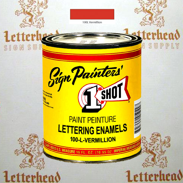 1 Shot Lettering Enamel Paint Vermillion 100L - Pint
