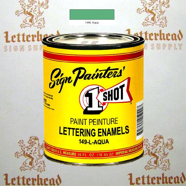 1 Shot Lettering Enamel Paint Aqua 149L - Pint