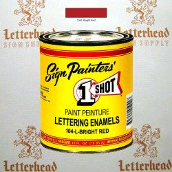 1 Shot Lettering Enamel Paint Bright Red 104L - Pint