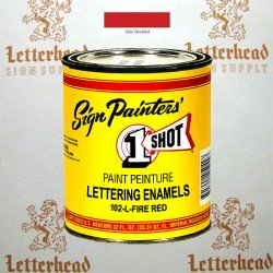 1 Shot Lettering Enamel Paint Fire Red 102L - Quart