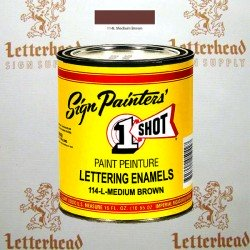 1 Shot Lettering Enamel Paint Medium Brown 114L - Pint