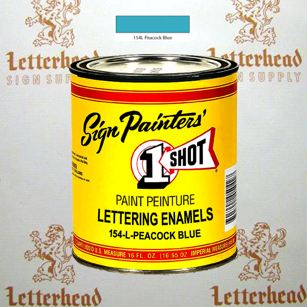 1 Shot Lettering Enamel Paint Peacock Blue 154L - Pint