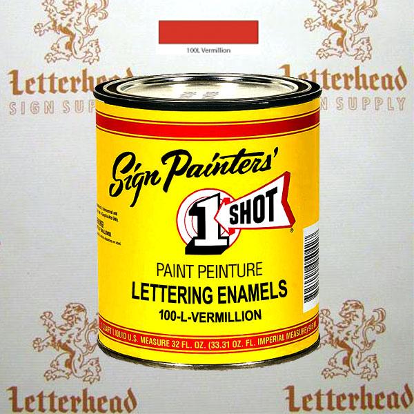 1 Shot Lettering Enamel Paint Vermillion 100L - Quart