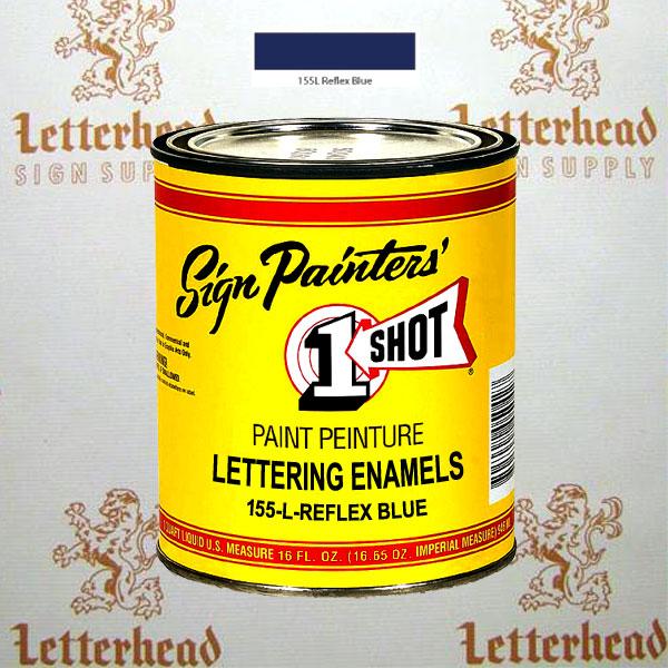 1 Shot Lettering Enamel Paint Reflex Blue 155L - Pint