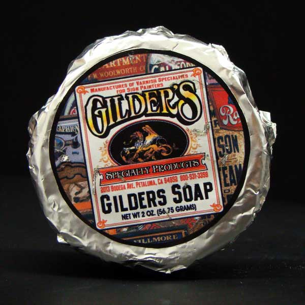 """Gilder's Soap"" for Reverse Chipped Glass window signs"